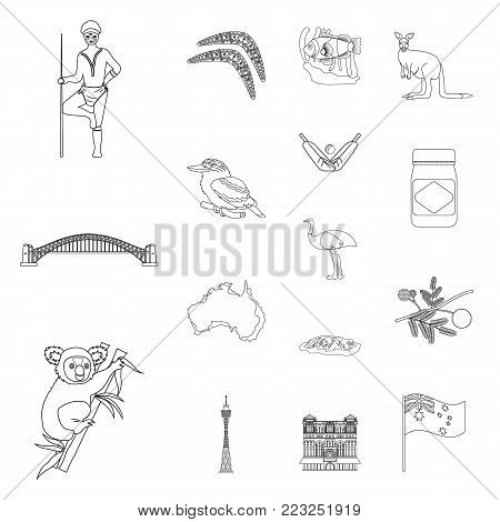 Country Australia outline icons in set collection for design.Travel and attractions vector symbol stock  illustration.