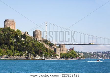 Rumeli Hisari Fortress on the Bosphorus in Istanbul, Turkey.
