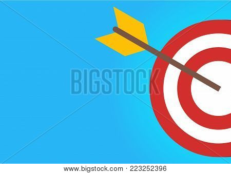 Target with arrow on blue background. Goal achieve concept.