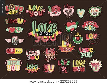 Set of contemporary girlie Love You letter logo. A set of vector patches, logo and letter composition. Vector stickers kit.