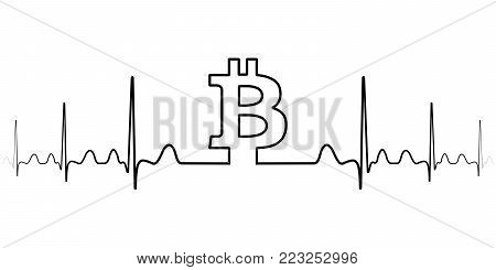 fluctuation in the exchange rate of the bitcoin illustration, vector fluctuation of bitcoin one line drawing, minimalism art