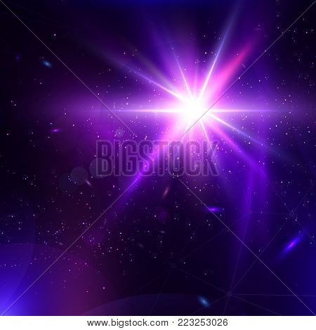 Abstract vector glowing background. Lens Flare fantastic design. Futuristic illustration with stage spot light and light burst. Space concept template. Flash Highlight beam. Glare, flicker and glow.