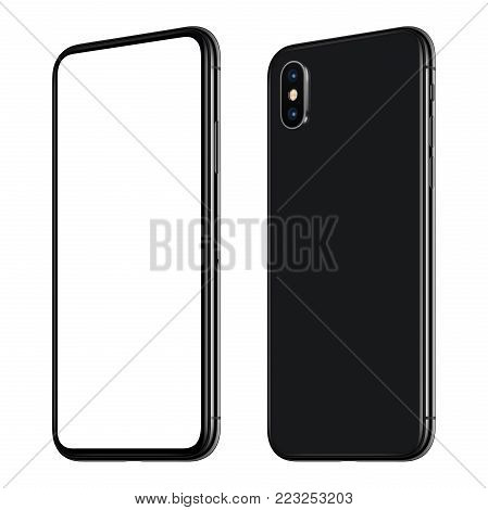 Similar to iPhone X rotated smartphone mockup front and back side. New modern black frameless smartphone mockup with blank white screen and back side with dual camera module. Isolated on white background. 3D illustration.