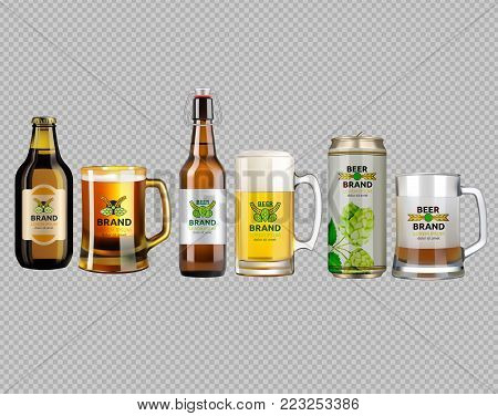 Vector Realistic glass and metallic white and brown beer bottle and glasses. Brand packaging template. Logo designs with hop flowers. Gold background