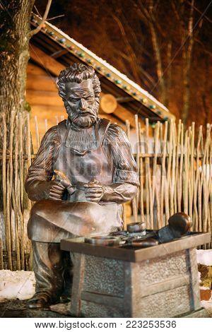 Vitebsk, Belarus - February 14, 2017: Sculpture Of Saint Crispino Is Catholic Patron Of Shoemakers