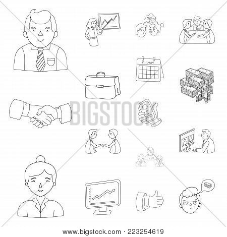 Business Conference And Negotiations outline icons in set collection for design.Business and training vector symbol stock  illustration.