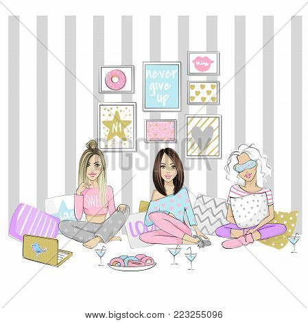 Beautiful girlfriends on a pajama party. Set with cute girls. Vector young ladies. Fashionable teens. Stylish chick of home interior. Trendy fashion illustration in sketch style.