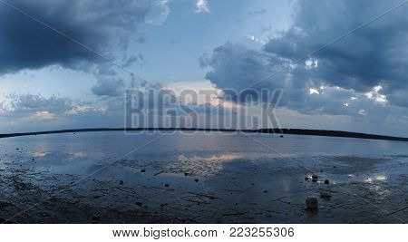 View of the Gulf of Finland near the village of Glebychevo in the Leningrad Region. Saint-Petersburg, Russia, water landscape.Panorama of the Gulf of Finland.