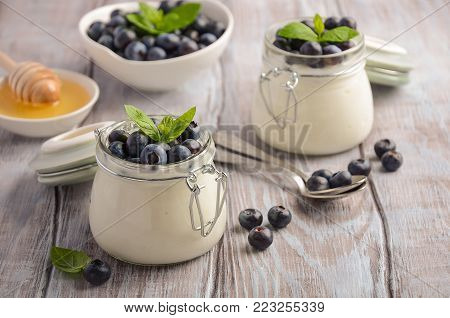 Homemade natural yogurt with blueberries and mint, selective focus