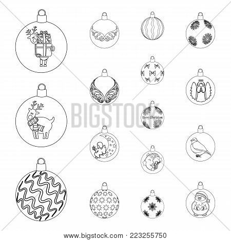 Christmas toys outline icons in set collection for design.New Year balls vector symbol stock illustration.