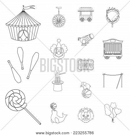 Circus and attributes outline icons in set collection for design. Circus Art vector symbol stock  illustration.