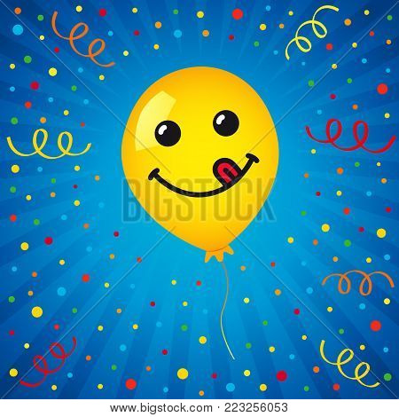 Smiling of yellow balloon and colored confetti on blue background. Vector emoticon emoji flat smile in the yellow helium balloon for greeting card and birthday celebration