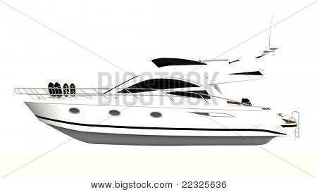 motor yacht isolated on white