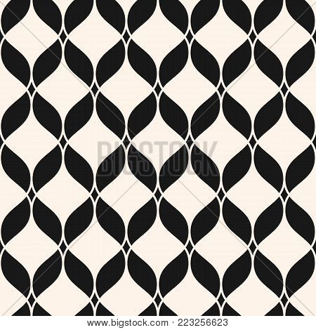 Vector geometric texture. Ornamental mesh seamless pattern. Abstract graphic monochrome background with wavy lines, delicate lattice, curved shapes, weave, net. Luxury repeat mesh texture. Delicate design for decor, prints. - Stock vector