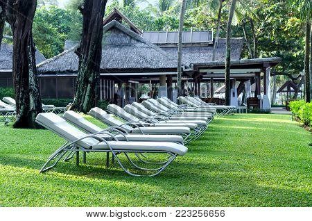 The sun beds at a garden in resort.