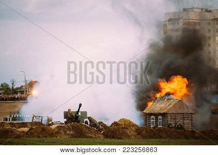 MOGILEV, BELARUS - MAY, 08, 2015: Reconstruction of Battle during events dedicated to 70th anniversary of the Victory of the Soviet people in the Great Patriotic War.