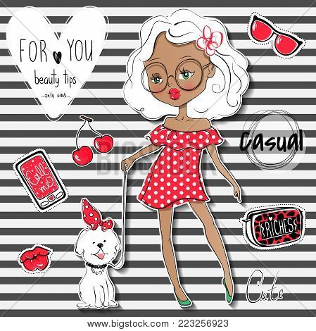 Cute vector girl and pet. Stylish young teen went for a walk with the dog. Cartoon lady. Colorful sketch illustration. Little model. Casual outfit. Funny personage. Fashion chic.