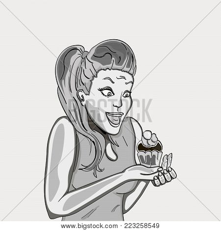 The retro girl is delighted with the cake. Holds in hands. Emotions of a woman. Object black and white pencil. Shades of gray. Vector illustration comics. 1970, 1980