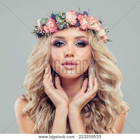 Cute Blonde Woman with Long Blonde Hair and Makeup, Fashion Portrait