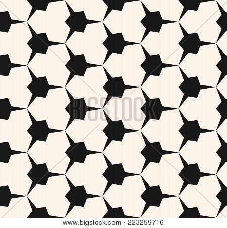 Vector geometric seamless pattern with edgy triangular shapes. Simple abstract monochrome geometric ornament.  Black and white geometric triangles texture. Modern geometrical repeat background. Elegant design element for decor, fabric, furniture