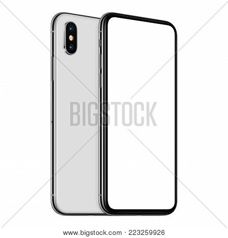 Rotated similar to iPhone X smartphones mockup front and back side. New modern white frameless smartphone mockup with blank white screen and back side one above the other. Isolated on white background. 3D illustration.