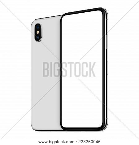 Rotated smartphones similar to iPhone X mockup front and back side. New modern white frameless smartphone mockup with blank white screen and back side one behind the other. Isolated on white background. 3D illustration.