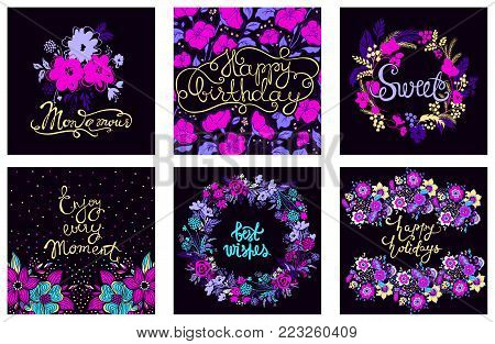 Best kit of vector greeting card. Set with congratulations postcard. Cute composition with abstract blooming elements prints, party decorations. Best collection for Valentines day, Happy Birthday.