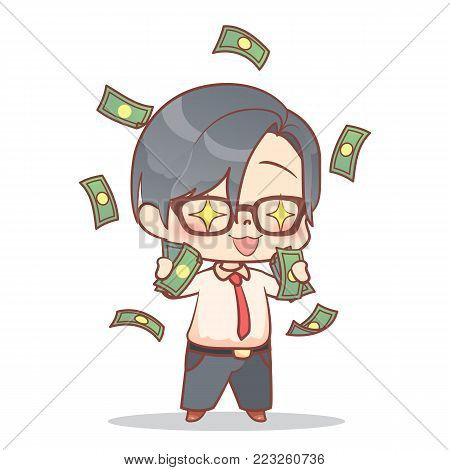 A Businessman Is Happy To Have Lots Of Money Cash Rain Cute Boy Earning Money, Kids Savings And Fina