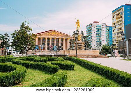 Batumi, Adjara, Georgia - May 26, 2016: Batumi State Drama Theatre named after I. Chavchavadze and Neptune Fountain