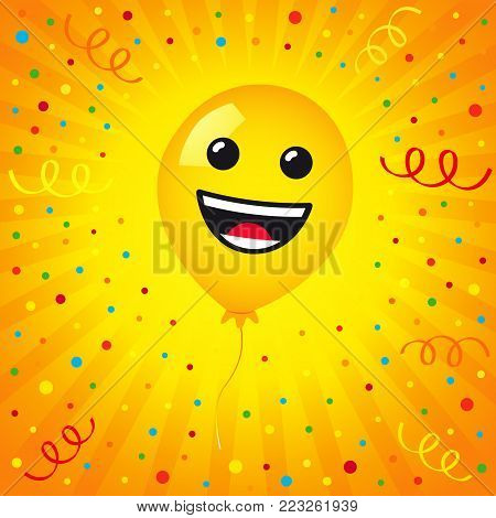 Smiling of balloon and colored confetti on yellow stripes background. Vector emoticon emoji flat smile in the yellow helium balloon for greeting card and birthday celebration