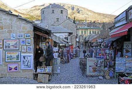 The Cobbled Street In Old Town Of Mostar