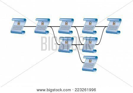 Illustration of the blockchain or block chain technology of encrypted ledger block
