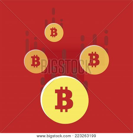 The fall of the cryptocurrency. Bright illustration in a flat style. Loss of points Currency. Vector illustration of bitcoin digital cryptocurrency.
