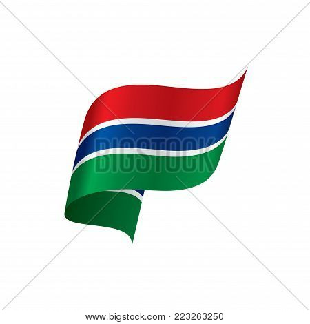Gambia flag, vector illustration on a white background