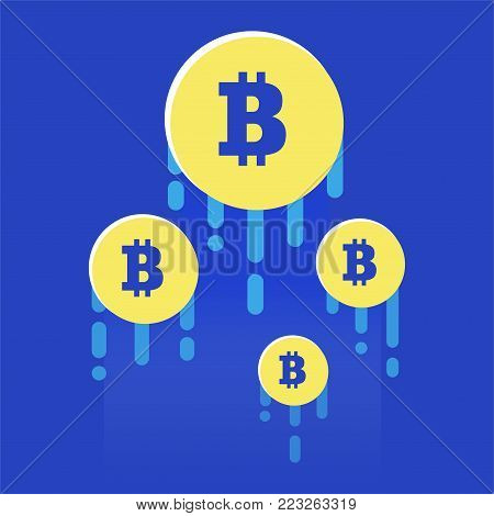 The rise of the cryptocurrency. Bright illustration in a flat style. Gain of points Currency. Vector illustration of bitcoin digital cryptocurrency.