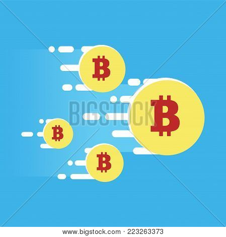 The fly forward of the cryptocurrency. Bright illustration in a flat style. Vector illustration of bitcoin digital cryptocurrency.
