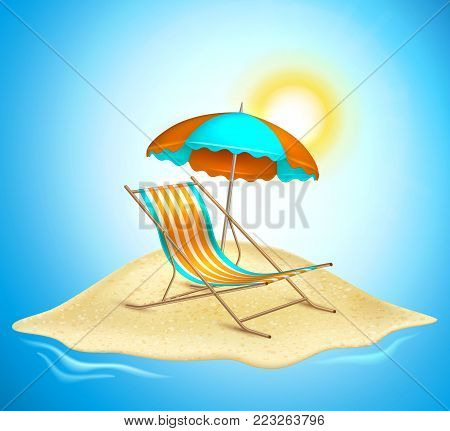 Summer vacation, beach party realistic 3d poster. Travelling tourism holiday time illustration sunny lounger, sunshade parasol umbrella on sand island on ocean sea blue sun sky background
