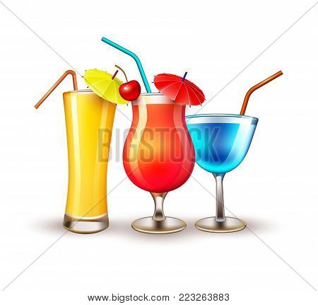 Summer cocktail juice martini glasses vacation, beach party realistic 3d objects isolated. Travelling tourism holiday time illustration sunny drink on white background, paradise resort seaside concept