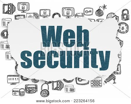 Security concept: Painted blue text Web Security on Torn Paper background with  Hand Drawn Security Icons