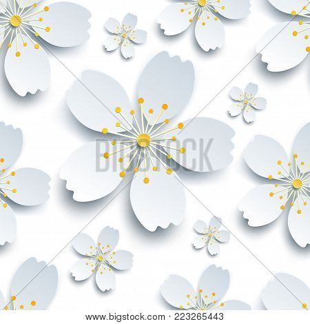 Trendy background seamless pattern with decorative white, grey 3d sakura flowers, japanese cherry tree blossom cutting paper. Floral stylish modern wallpaper. Vector illustration