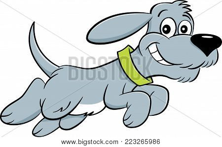 Cartoon illustration of a happy dog leaping.