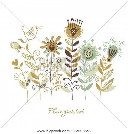 floral illustration, hand drawing