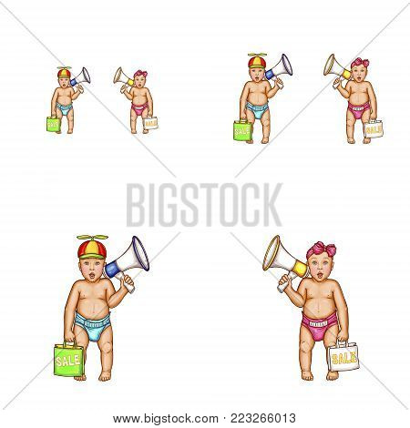 Set of vector pop art round avatar icons for social network users blogs, profiles. Surprised baby in diaper, boy in propeller cap, girl bow on head holding megaphone shopping bag with sale inscription