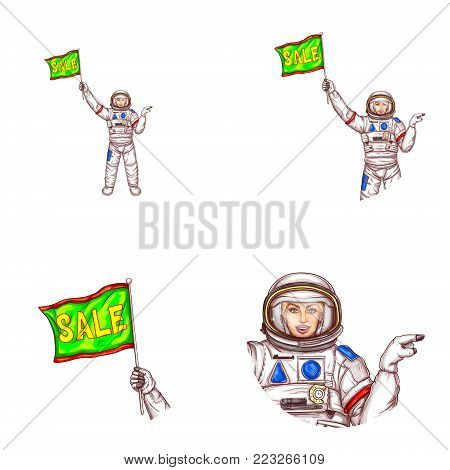 Set of vector pop art round avatar icons for users of social networking, blog, profile icons. Girl spaceman in space suit holding sale inscription flag pointing with finger to empty space illustration