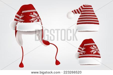 Vector 3d realistic illustration of three knitted santa hats with decorative pattern on them, isolated on background. Christmas traditional headdress, with pom-poms, earflaps and ornament