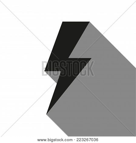 bolt icon with long shadow on white background