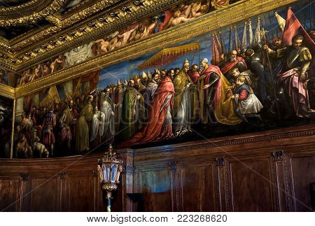 Venice, Italy - May 20, 2017: Interior of Doge`s Palace (Palazzo Ducale). Doge`s Palace was built in 15th cent on St Mark`s Square and is one of main tourist attractions of Venice.