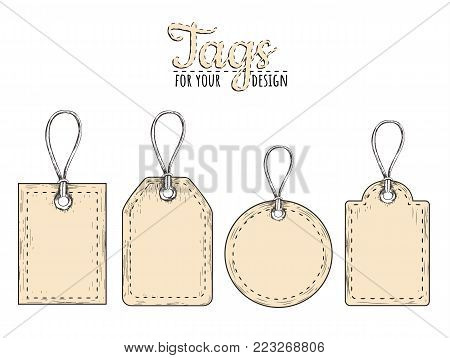 Set of tags.  Tag collection vector illustration. Tags sketch hand drawing for your design