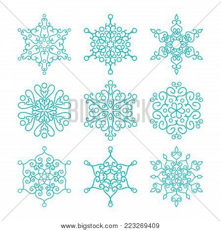 Vintage outlined snowflakes isolated. Winter icons on white background