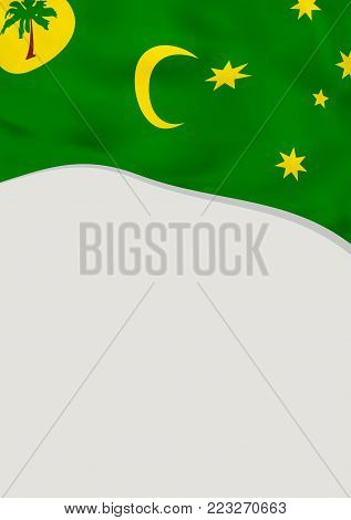 Leaflet design with flag of Cocos Islands. Vector template.
